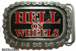 Hell on Wheels Motorcycle Chain Belt Buckle + display stand. Code BF8